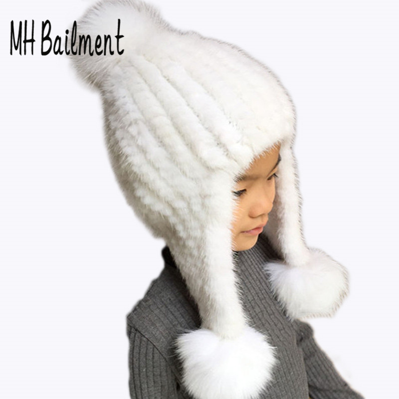 2017 Fashion Kids Mink Knitted Hat with Fox Fur Pompoms Ball Hats Girls Boys Autumn Winter New Warm White Baby Beanies Caps H#25 hm039 real genuine mink hat winter russian men s warm caps whole piece mink fur hats
