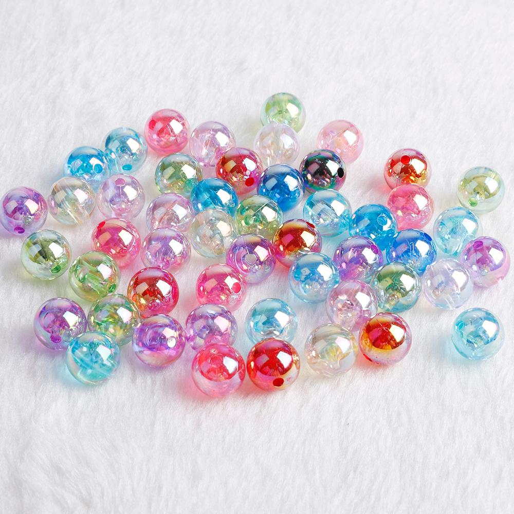50/100Pcs 6 8 10mm Acrylic Beads Charms DIY For Necklace Bracelet Earring Findings Jewelry Accessories(China)