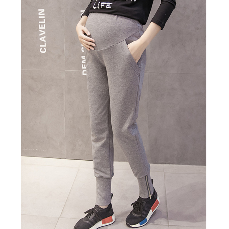 Pregnancy Trousers Belly Skinny Maternity Leggings Elastic Cotton Adjustable Waist Sports Pants Clothes for Pregnant Women B0349