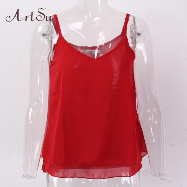 2c46e8eb88 Home > ArtSu Chiffon Tank Top Women 2017 Summer Sleeveless Shirt Sexy  V-neck Cami Casual Female Tops Plus Size Vest Clothing LDVE60008. Previous.  Next