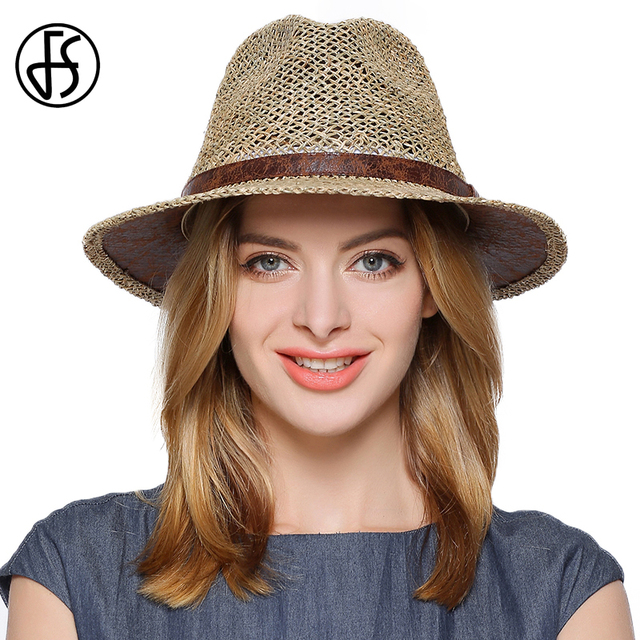 be3d8b870a8 FS Summer Panama Hats Men Wide Brim Straw Sun Hat For Women Hollow Out Beach  Fedora Chapeu With Ribbon Jazz Gangster Cap