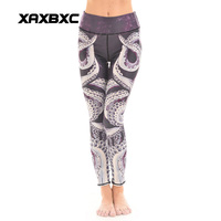 New 3851 Sexy Girl HI Q Octopus Printed Elastic Slim Fit Fitness Workout Women Leggings Pants