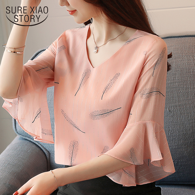 2019 summer fashion women clothing butterfly sleeved blouses sweet short sleeved chiffon print women tops pink clothing 0221 40