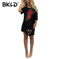 BKLD 2017 Summer New Fashion Women Loose Short Sleeve Cotton Casual Tshirt Tops Rose Floral Embroidery