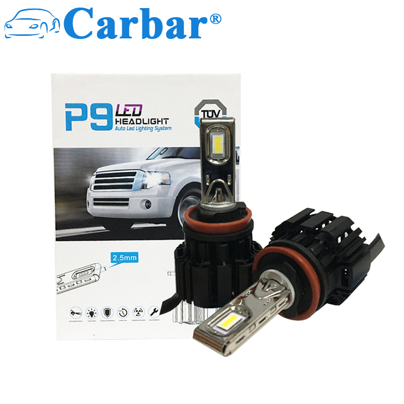 Carbar# P9 H11 (H8 H9) LED Headlight Bulbs Conversion Kit -6000K Cool White LED Headlamps Waterproof IP67 6800LM 50W LED Bulb 9012 hir2 led headlight bulbs 50w 8000lm fanless auto headlamp conversion kit for toyota chevrolet cadillac buick gmc ford jeep