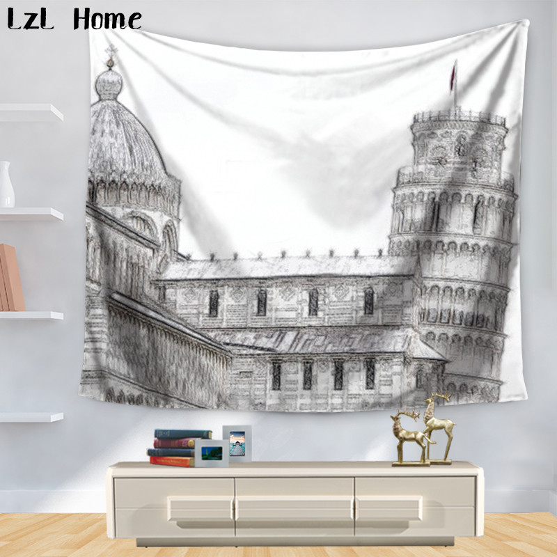LzL Home Europe Famous Building Tapestry Paris France Aerial View Urban Wall Hanging Kids Girls Boys Room Dorm Cover Wall Rugs