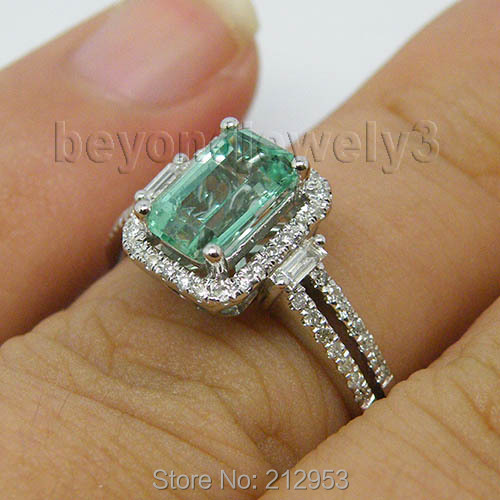 New Vintage 100 Natural Emerald Engagement Ring Solid 14K White