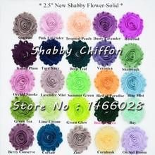15 yards/lot, 2.5 inch shabby chiffon bloemen, leuke rose chiffon bloemen voor hoofdband hoofddeksels mode accessoires 108 kleuren
