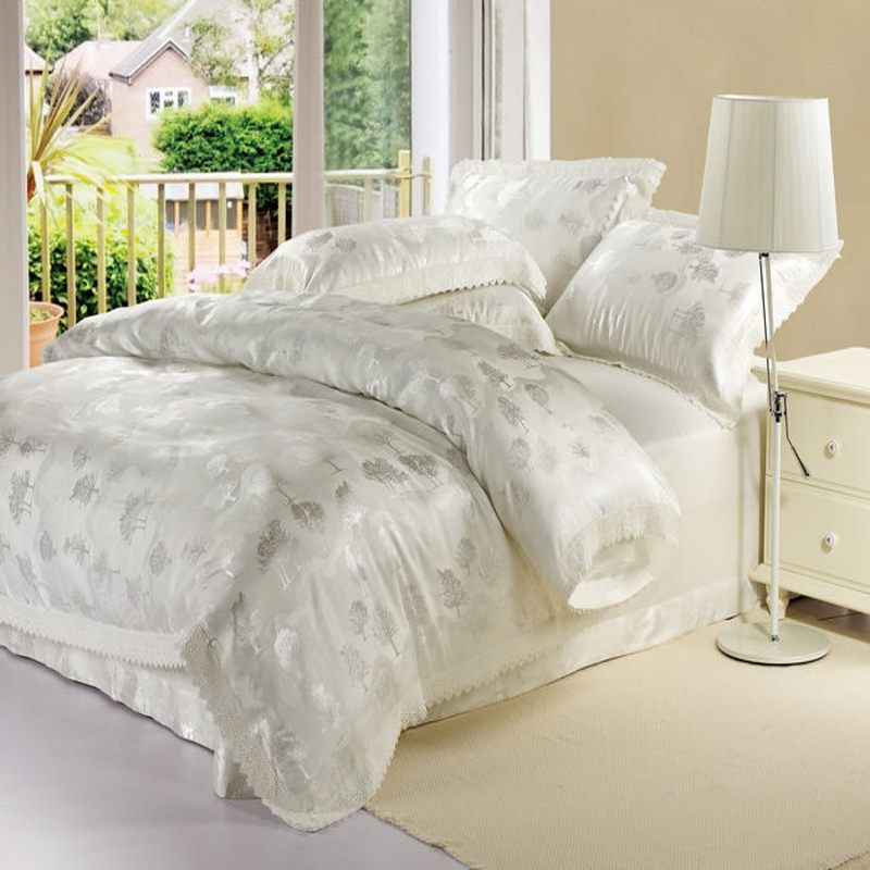 buy white jacquard satin silk duvet cover. Black Bedroom Furniture Sets. Home Design Ideas