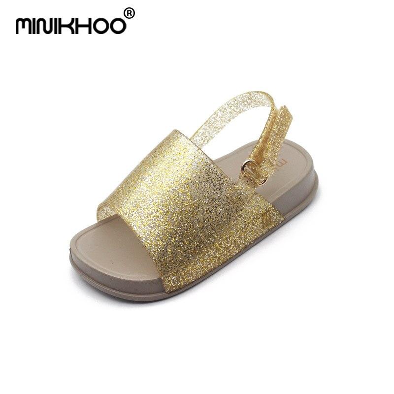 Mini Melissa Brazil Girls Jelly Sandals 2018 Children Beach Sandals Melissa Princess Shoes Jelly Sandals Breathable 14cm-16.5cm