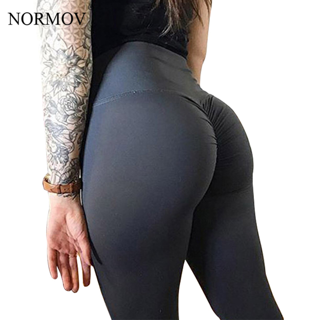 512baa1ca7247 NORMOV Solid High Waist Leggings Women Fitness Workout Push Up Legging  Femme Bodybuilding Classic Trousers Female Clothing