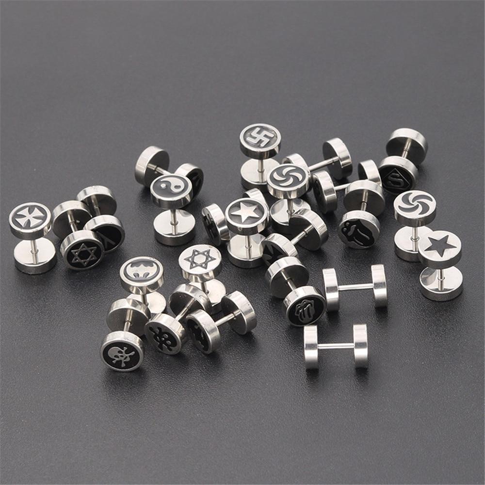 Korean woman stainless steel stud earrings fashion jewelry female barbell round earrings men male accesories gifts for women in Stud Earrings from Jewelry Accessories