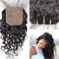 Dhl livre grau 7 fechamento base de seda barato indiano onda de água do cabelo 4 x 4 livre oriente parte virgem cabelo top de seda encerramento em estoque