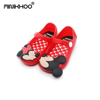 Mini Melissa Mickey 13-15.5cm Girls Sandals 2018 Summer Girls Sandals Cute Girls Shoes Children Mitch Baby Shoes For Girl Shoes como vestir con sueter mujer