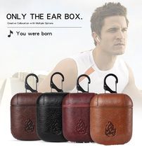 2019 New Earphone Case For Apple Airpods Strap Genuine Leather with Buttons Protection Headphone Case Earphone Accessories