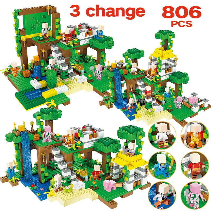 Toys & Hobbies Bright 806pcs Toys For Children My World Jungle Lodge Tree Waterfall Building Blocks Compatible Legoed Minecrafted Educational Bricks Quality And Quantity Assured Model Building