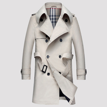 Nova Primavera e Outono dos homens padrão magro double breasted trench coat turn down collar parka com cinto business casual outwear(China (Mainland))