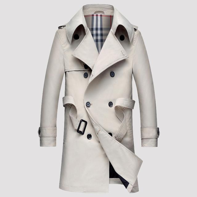 Nuevo otoño y el invierno patrón delgado pecho doble capa de foso de los hombres gira el collar abajo parka con cinturón casual de negocios outwear