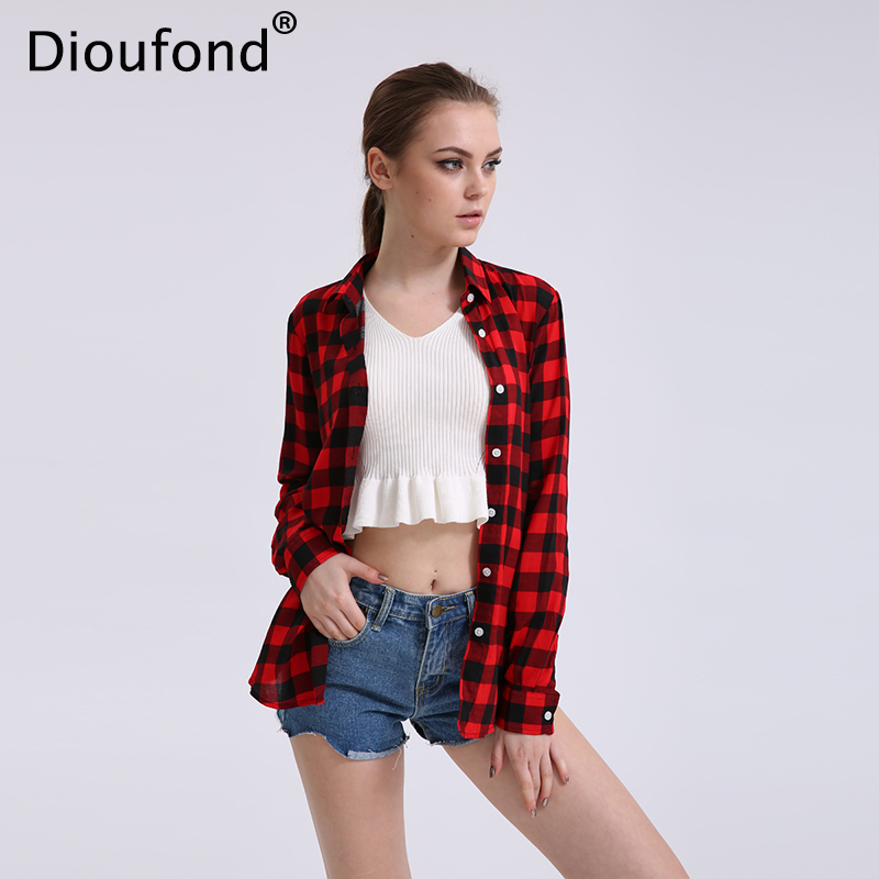 Dioufond Casual Plaid Women   Blouses   Red Black Check Boyfriend Style Long Sleeve   Shirts   Loose Camisa Tops Autumn Plus Size 2017