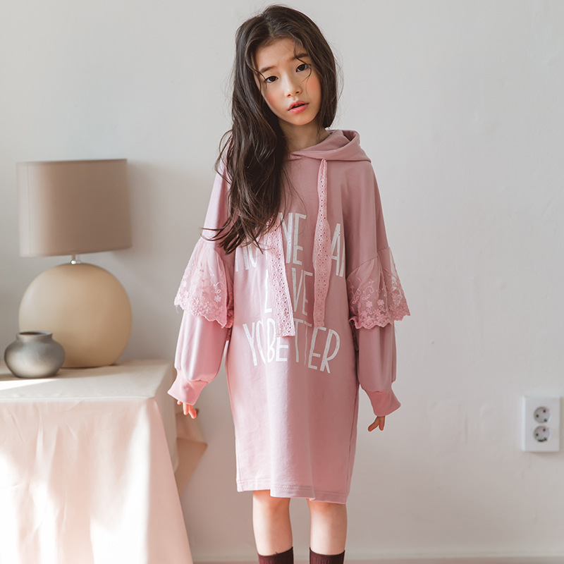 Lace Patchwork Little Girls Long Sleeve Dresses 2018 Autumn Hooded Kids Dresses for Girls Cotton Pullover Girl Pink Hoodie Dress цена