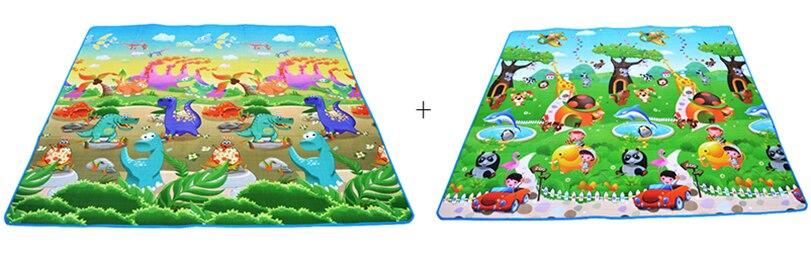 HTB1Se5Wa.GF3KVjSZFoq6zmpFXaj Baby Play Mat 0.5cm Thick Crawling Mat Double Surface Baby Carpet Rug Animal Car+Dinosaur Developing Mat for Children Game Pad