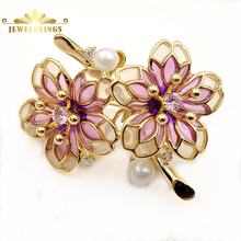 Fancy Style Colorless & Purple Enamel Double Flower Brooches Gold Tone Short Stem White Mother of Pearl CZ Deco Two Flower Pins fabulous short tassel drops double yellow bird brooches silver tone micro pave cz green eyes two love birds pins for girlfriend