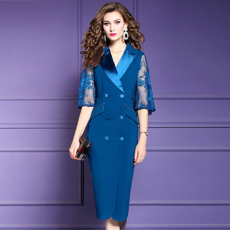 Office Lady Fork opening dress Spring 2019 sexy Women sexy Party Dress Plus Size Occupation V