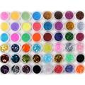 48 Botellas/Set Brillo de Uñas Para Uñas de Acrílico del Polvo del Polvo 3D Sugerencia Rhinestone Manicura Herramientas Nail Art Decoración Pigmentos polaco
