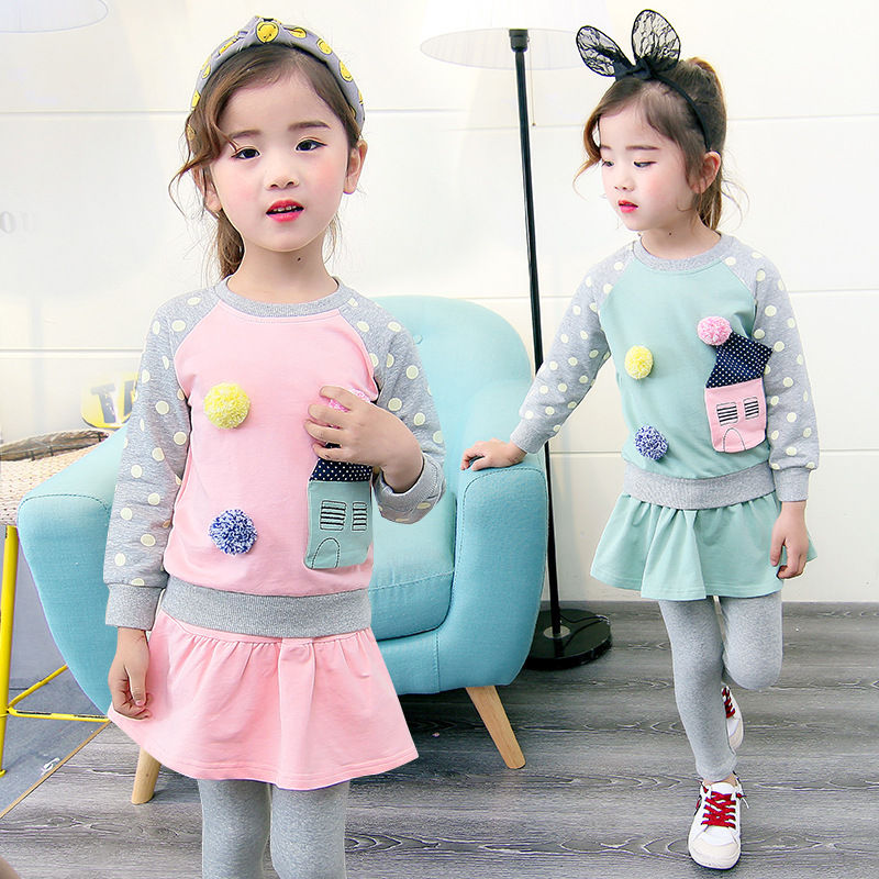 2018 New Girls Suit Kids Teens Clothes Set Spring Wear Long Sleeve Sweatshirts + Skirts Leggings 2pcs Set 6 7 8 9 10 11 12 Years