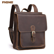 PNDME simple crazy horse cowhide mens backpack retro high quality genuine leather outdoor waterproof daily designer schoolbag