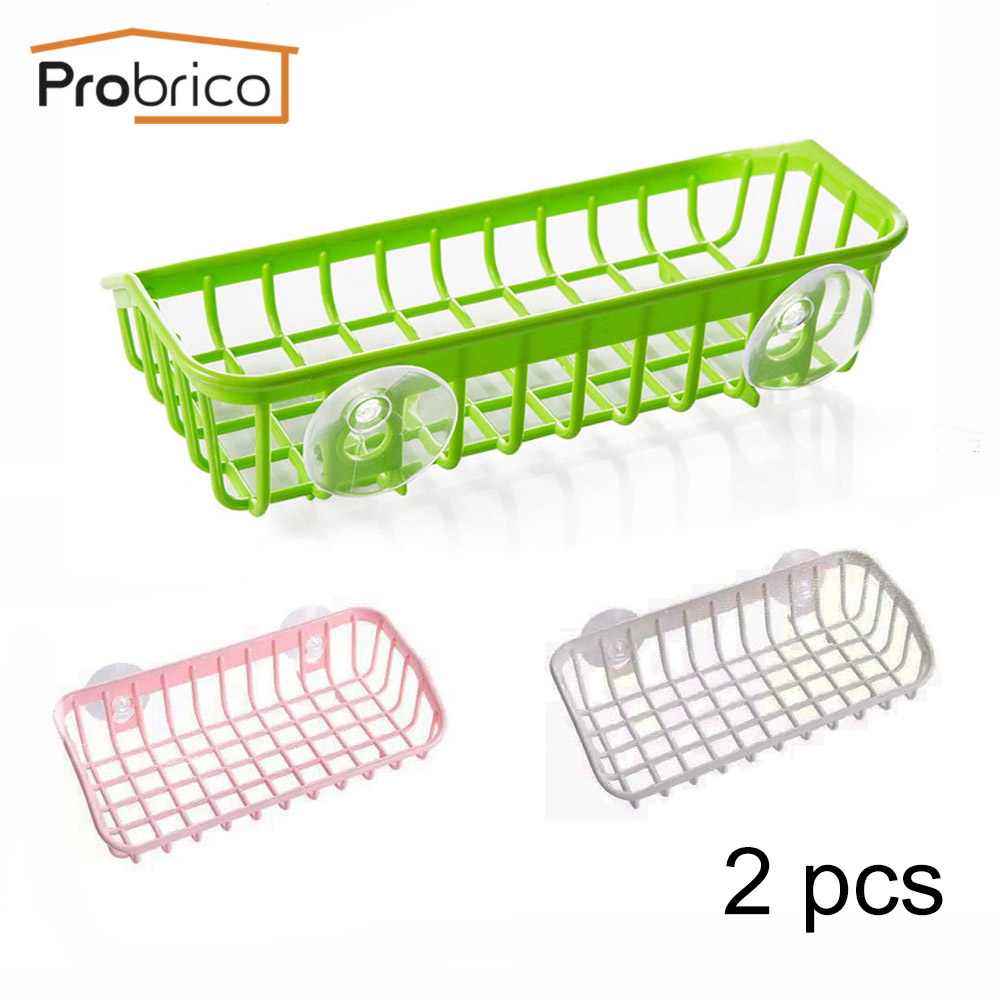 Buy Probrico 2pcs Pink/Green/White Basket With Plastic Sucker Sponge Towel Rack Holder Wall Mounted Organizer Storage Hanging Basket for $6.07 in AliExpress store