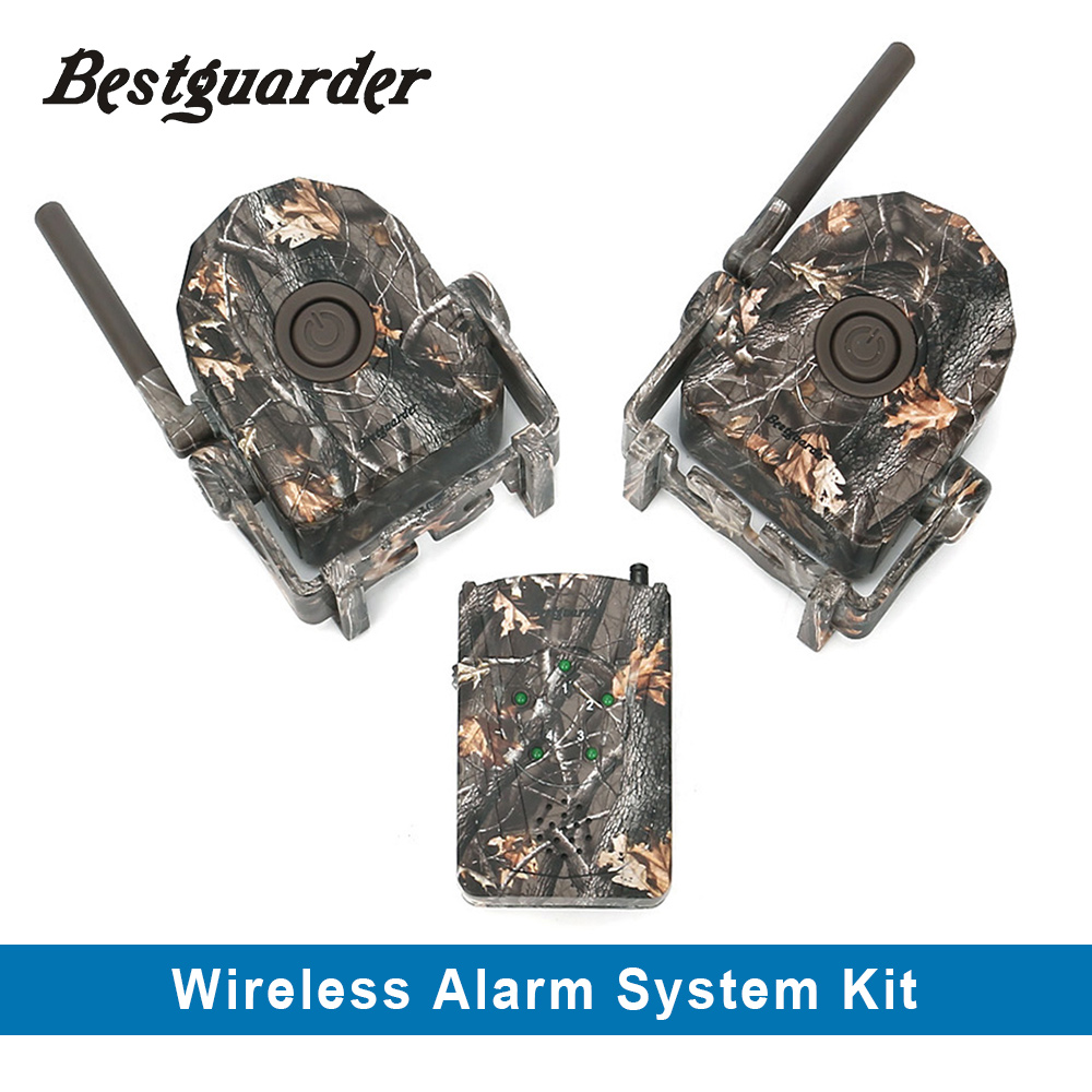 Bestguarder 360 degree Wireless Hunting Alarm System 433MHz Trail Security PIR Alarm Motion Detector  Receiver Alarm System Kit wireless pager system 433 92mhz wireless restaurant table buzzer with monitor and watch receiver 3 display 42 call button