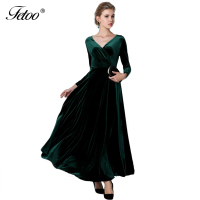 2016 Autumn Winter Velvet Maxi Dresses Long Elegant V Neck Long Sleeve Dress Women Female Vestidos