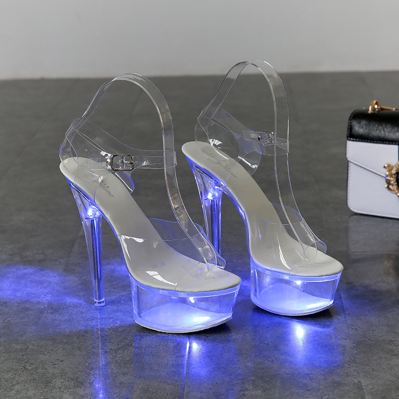 Light Up Glowing Shoes Woman Luminous Clear <font><b>Sandals</b></font> Women <font><b>Platform</b></font> Shoes Clear <font><b>High</b></font> <font><b>Heel</b></font> Transparent Stripper Wedding Shoes image