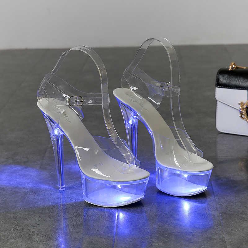 Sáng Đèn Phát Sáng Giày Người Phụ Nữ Dạ Quang Trong Suốt Giày Sandal Nữ Giày Đế Trong Suốt Cao Gót Trong Suốt Vũ Nữ Thoát Y Cưới Giày
