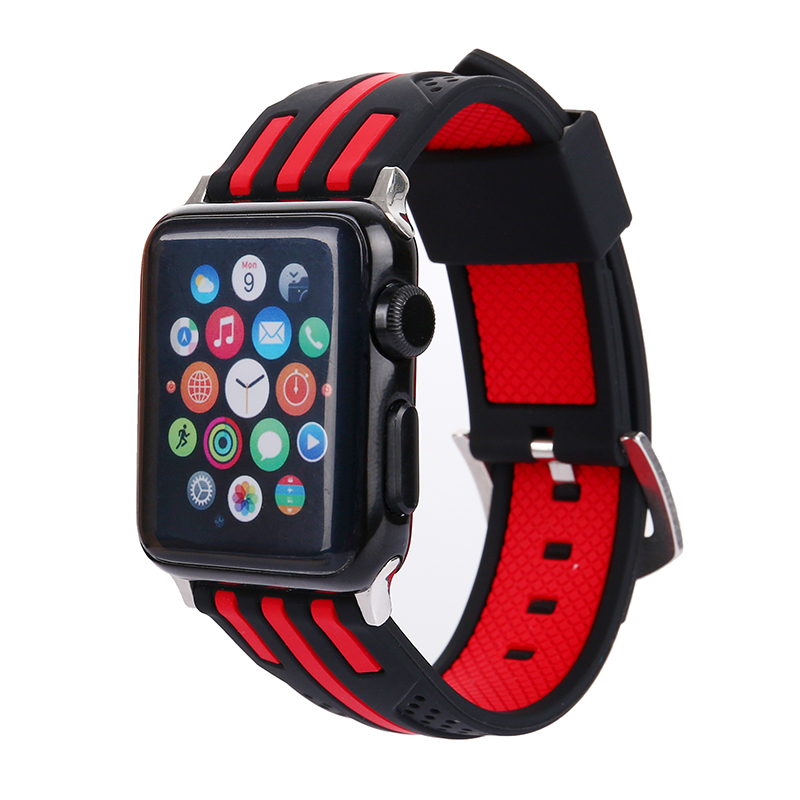 FOHUAS New Bar stripe Silicon Sports Band Colorful wrist Strap for Apple Watch iwatch 38/42mm Bracelet Series 3 2&1 watchbands цена