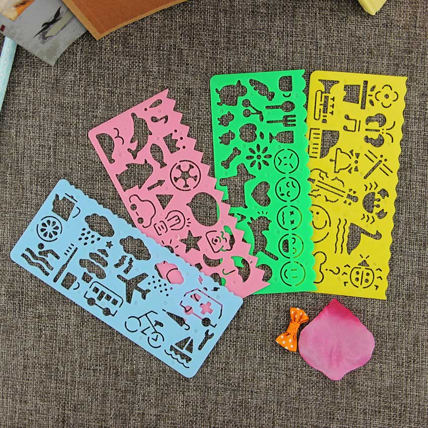 4 pcs cute art graphics symbols drawing template ruler student kids drafting stencil ruler stationery - Free Kids Stencils