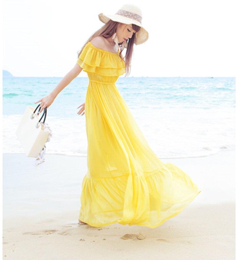 Chiffon Infinity Dress: Summer Boho Beach Chiffon Pleated Dress Bohemian Flirty