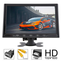 10.1 Inch HD TFT LCD Color Car Rear View Monitor 2 Video Input DVD VCD Headrest Vehicle Monitor Support Audio Video HDMI VGA