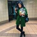 Европейский и американский стиль стильная женская уличная сплошной цвет свободно случайные шерстяные пальто/куртка женщин