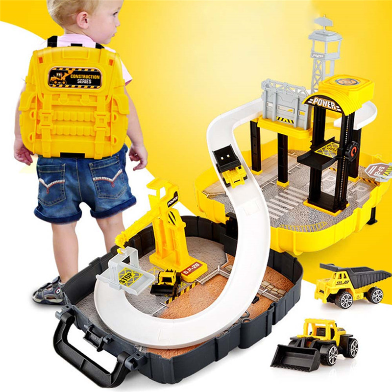 Magical Car Set Educational Toys Mobile Garage Parking Toys Figure Race Toy Backpack In Box Children Toy
