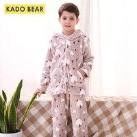 Boys Girls Winter Warm Pajamas Set Children Cartoon Animal Flannel Sleepwear Kids Pyjamas Coral Fleece Pijamas Baby Clothes 2pcs