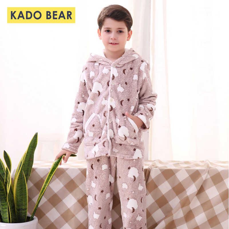 Conjunto de Pijamas cálidos de invierno para niños y niñas, ropa de dormir de franela de animales de dibujos animados, Pijamas de lana de Coral, ropa de bebé 2 piezas