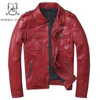 Plus Size sheepskin genuine leather jacket men Red Turn down Collar M 4XL short zipper pocket Motorcycle coat bomber jackets