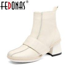 FEDONAS 2020 ฤดูใบไม้ร่วงฤดูหนาวผู้หญิงมากกว่าเข่ารองเท้า Cow สิทธิบัตรหนังถักรองเท้าขี่รองเท้ารองเท้าผู้หญิง