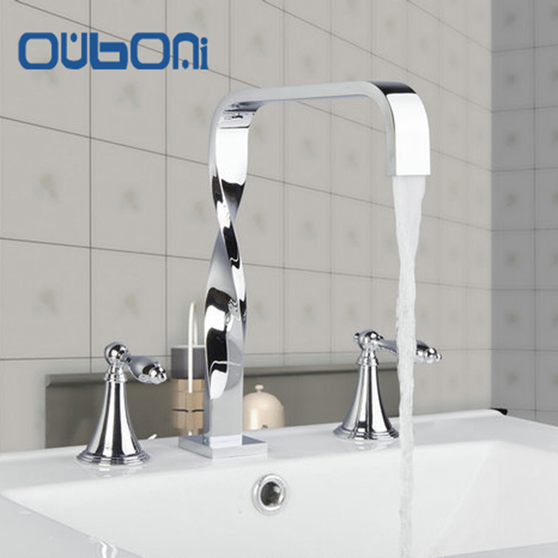 OUBONI  Deck Mounted Bathroom  Faucet 3PCS Set Dual Handles Chrome Bathtub Shower Basin Mixer Tap Faucets Chrome Finish chrome finish dual handles thermostatic valve mixer tap wall mounted shower tap