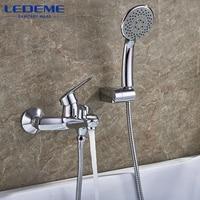 LEDEME Bathtub Faucet 1 Set Chrome Plated Outlet Pipe Bathroom Shower Bathtub Faucets Surface Brass Bath