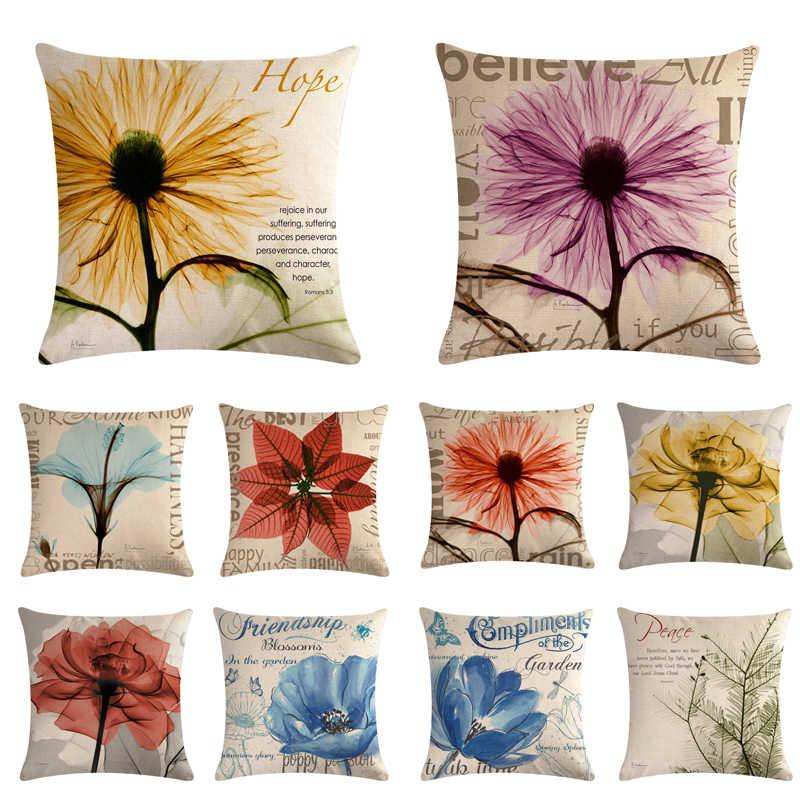 45 cm * 45 cm Antike transparent blumen design leinen/baumwolle werfen kissen deckt couch kissen abdeckung home dekorative kissen