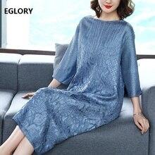 2018 Autumn Winter Fashion Plus Size Dress for Women Vintage Jacquard Print Three Quarter Sleeve Straight Loose Dress Blue Red