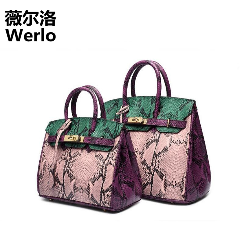 WERLO Brand Designer Women Bag Totes Vintage Serpentine Women Handbags 100% Genuine Leather Female Shoulder Messenger Bags SJ196 2017 new casual snake pattern genuine leather women handbag serpentine fashion shoulder bag luxury brand designer female totes
